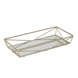 Satin Gold Geometric Mirrored Vanity Tray
