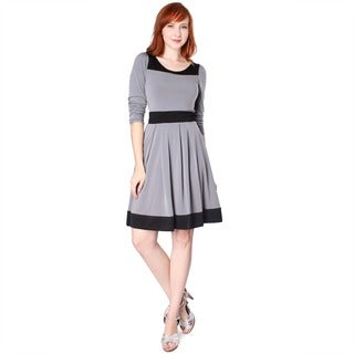 Evanese Women's Two-tone Long-sleeve Dress XL Size in Gray/ Black (As Is Item)