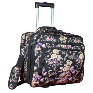 World Traveler Classic Floral Collection Rolling 17-inch Laptop Business Case