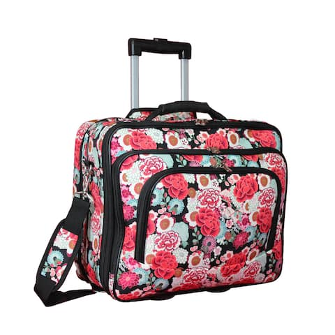 World Traveler Floral Collection Rolling 17-inch Laptop Business Case