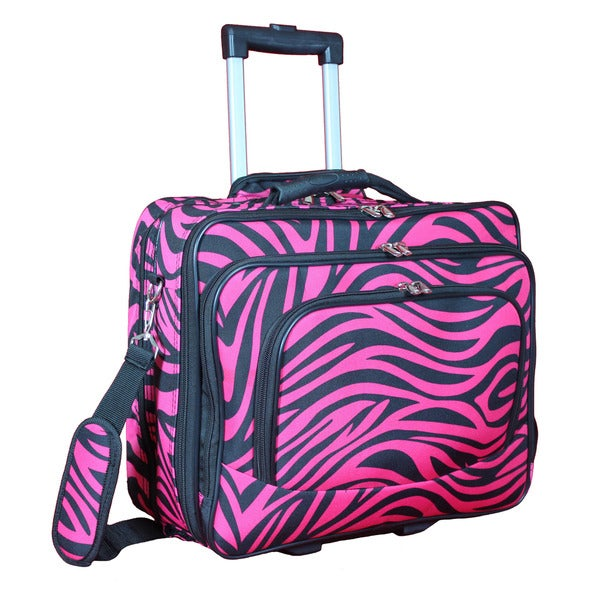 World Traveler Fuchsia Black Zebra Rolling 17-inch Laptop Business Case