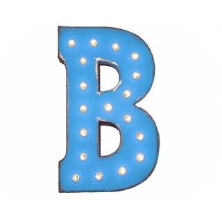 "21"" Letter B Plug-In Rustic Metal Marquee Light Up Sign Color"