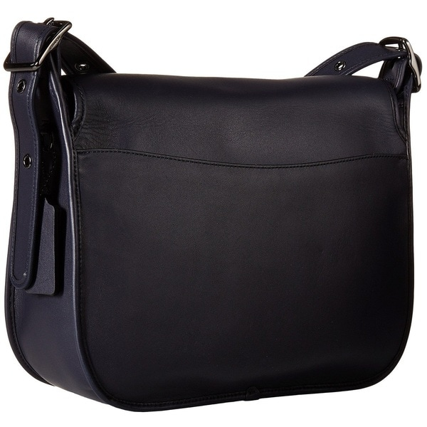 a486d0f89570 Coach Glovetanned Dark Antique Nickel  Navy Leather Saddle Handbag. Click to  Zoom