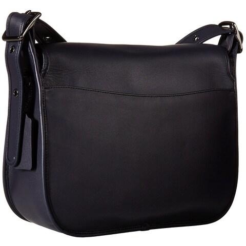 Coach Glovetanned Dark Antique Nickel/ Navy Leather Saddle Handbag