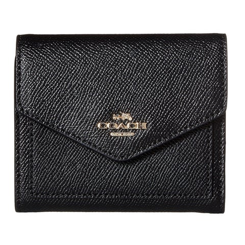 COACH Crossgrain Black Leather Small Wallet