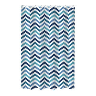 Dobie Saphire Chevron Polyester Shower Curtain with Hooks
