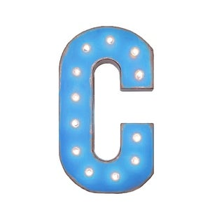 "21"" Letter C Plug-In Rustic Metal Marquee Light Up Sign Color"