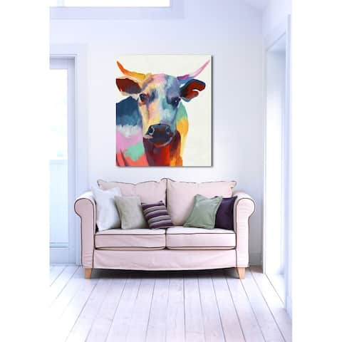 Oliver Gal 'Cow Wow' Red Aniamals Wall Art Canvas Print
