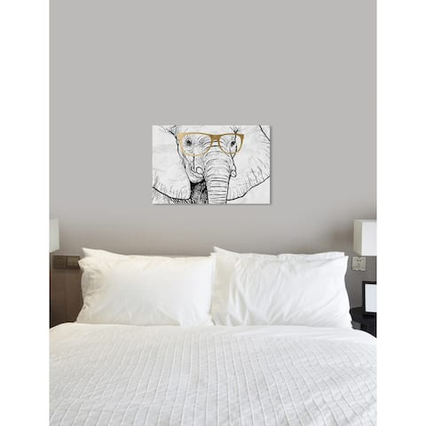 Oliver Gal 'Elephant and Gold Glasses' Animals Wall Art Canvas Prints - White, Gold