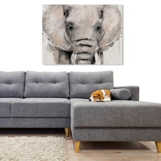 Oliver Gal 'Abstract Elephant' Animals Wall Art Canvas Print - Gray, White