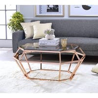 ACME Clifton Coffee Table in Smoky Glass and Rose Gold