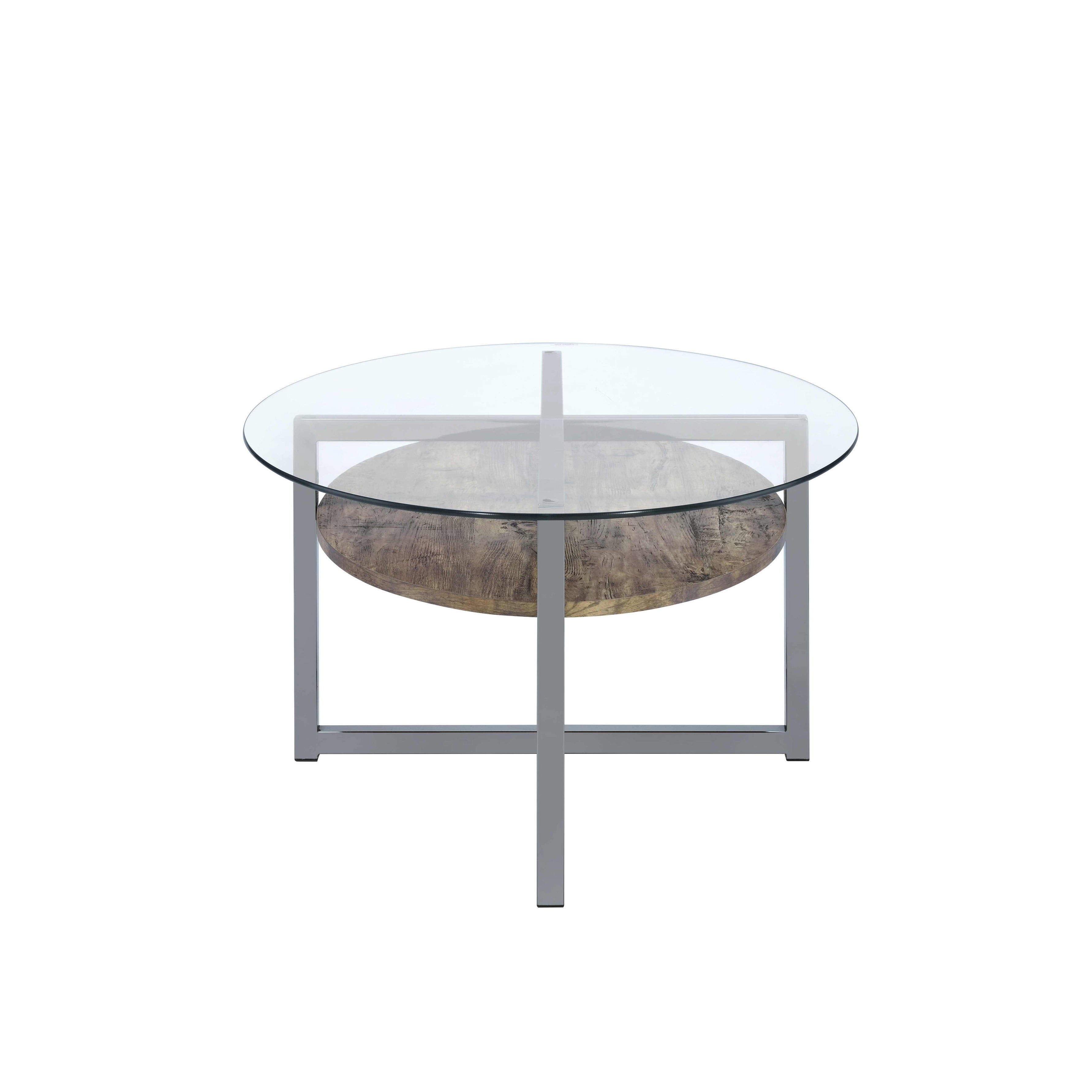 Picture of: Shop Black Friday Deals On Acme Janette Coffee Table In Weather Oak Black Nickel And Clear Glass On Sale Overstock 18904837