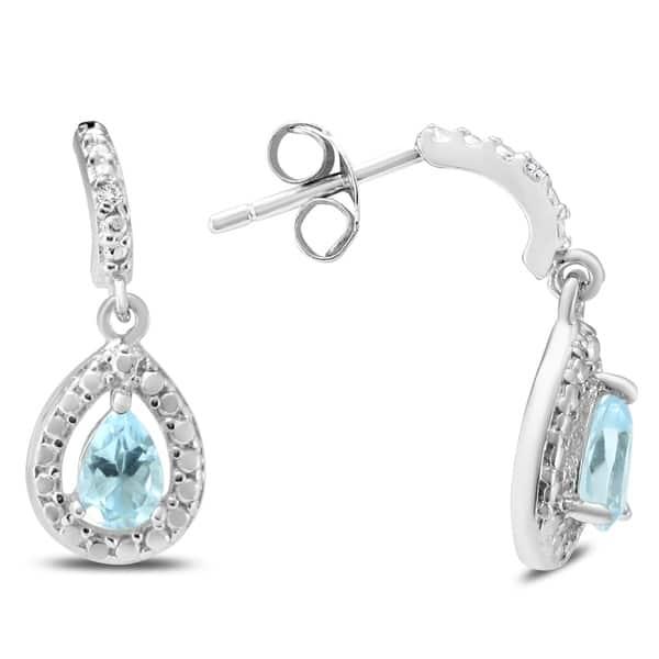 Blue Topaz Dangle Drop Hoop 925 Sterling Silver Earrings