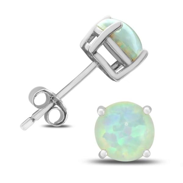6mm Created Opal Stud Earrings In 925 Sterling Silver