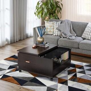 Furniture of America Deln Contemporary Espresso Mobile Coffee Table