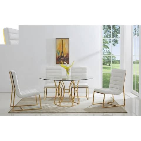 Best Master Furniture Gunnar 5 Pcs 54 Inch Gold Dinette Set