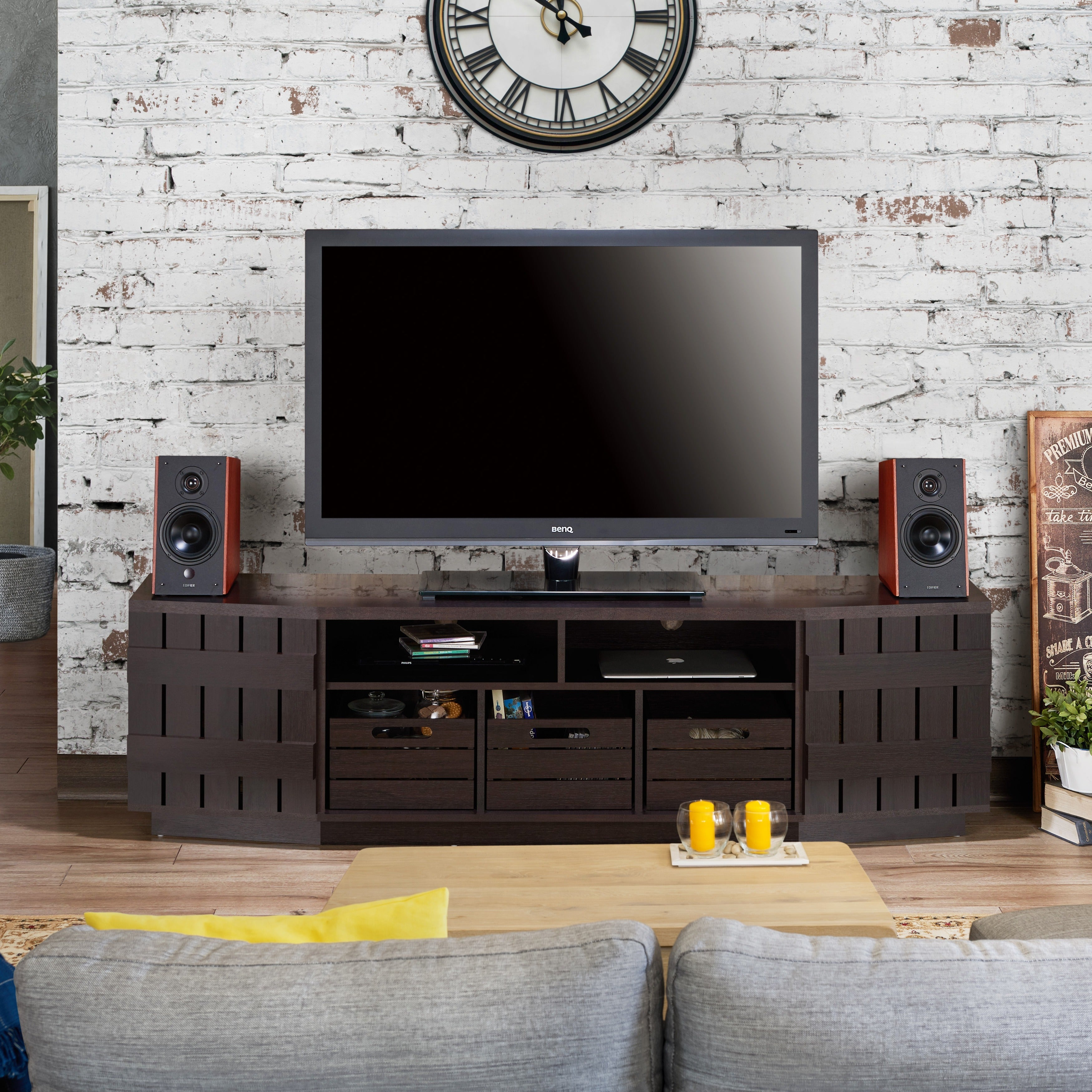 Furniture of America Harla Rustic 70inch TV Stand with Removable