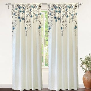 DriftAway Isabella Faux Silk Lined Thermal Embroidered Crafted Flower Window Curtain Panel (50 width x 84  length - ivory/ blue)