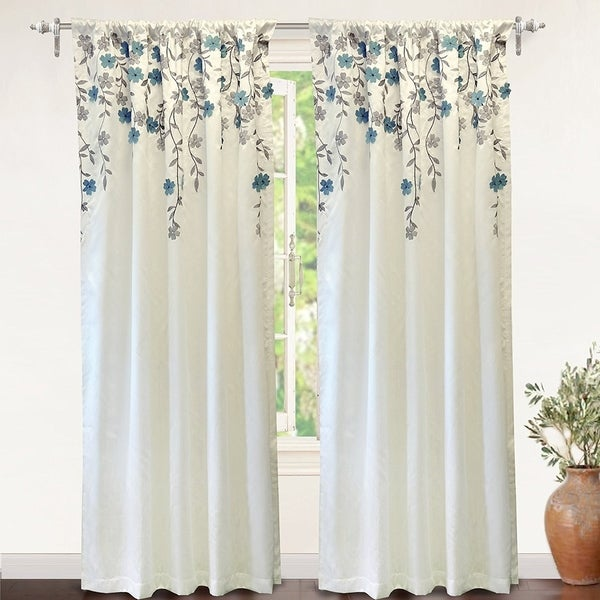 Beige And Black Flower Floral Curtain Panel