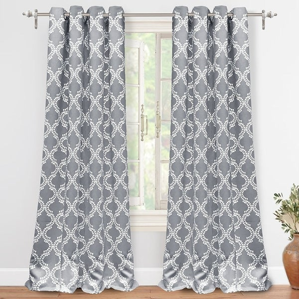 DriftAway Julianna Geometric Printed Thermal Insulated Blackout Grommet Window Curtain Panel Pair. Opens flyout.