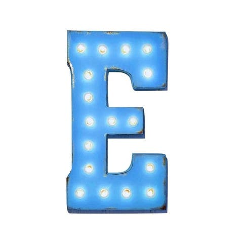 "21"" Letter E Plug-In Rustic Metal Marquee Light Up Sign Color"