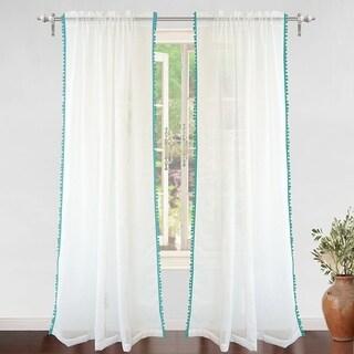 DriftAway Laura Pom Pom Sheer Window Curtain Panel Pair (52 width x 84  length - Aqua)