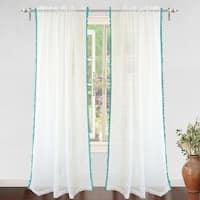 DriftAway Laura Pom Pom Sheer Window Curtain Panel Pair