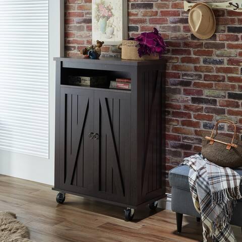 Furniture of America Jenered Rustic Farmhouse Espresso Shoe Cabinet