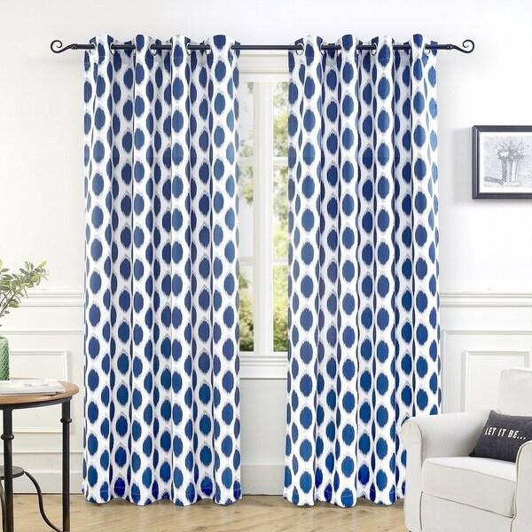 lovely Polka Dot Curtains Panels Part - 13: DriftAway Allen Ikat Polka Dot Room Darkening Window Curtain Panel Pair