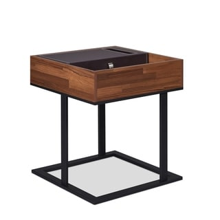 ACME Sonia Side Table in Walnut and Sandy Black