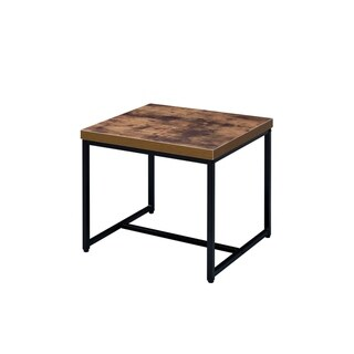 ACME Bob End Table in Weathered Oak and Black