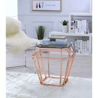 ACME Clifton End Table in Smoky Glass and Rose Gold