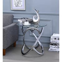 ACME Marlon End Table in Chrome and Clear Glass