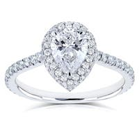 Annello by Kobelli 14k White Gold Certified 1 3/5ct TDW Pear Diamond Engagement Ring