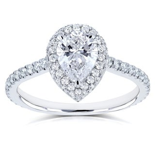 Annello by Kobelli 14k White Gold Certified 1 3/5ct TDW Pear Diamond Engagement Ring (Option: 6.5)