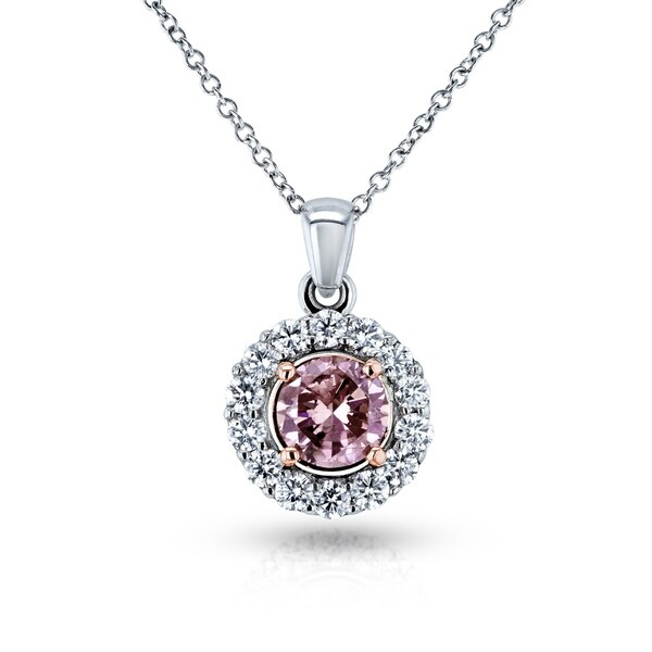 Annello by Kobelli 18k Two Tone Gold IGI Certified 1 1/8ct TDW Lab Created Fancy Deep Pink Diamond Necklace. Opens flyout.
