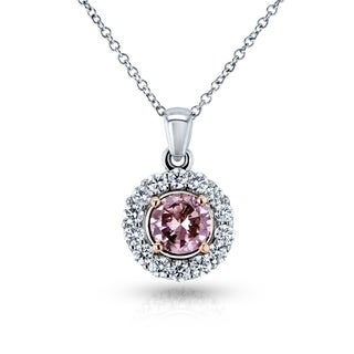 Annello by Kobelli 18k Two Tone Gold IGI Certified 1 1/8ct TDW Lab Created Fancy Deep Pink Diamond Necklace