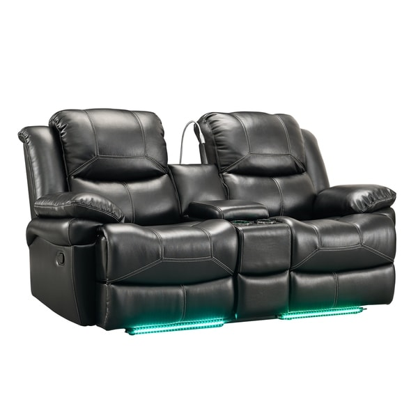 Common Home Silas Black Manual/Power Dual Recliner Loveseat With Storage  Console And Base Lighting