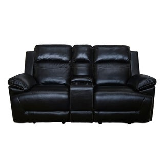 Topher Dual Glider Recliner Loveseat with Storage Console (Manual/ Power) (Black/ Red)