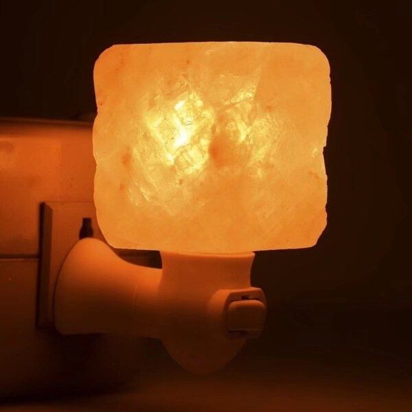 Exquisite Square Mosaic Natural Rock Salt Himalaya Salt Lamp Amber