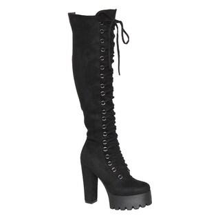 Beston EL39 Women's Side Zip Lace Up Platform Over the Knee High Boot