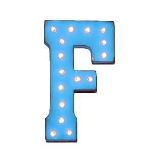 "21"" Letter F Plug-In Rustic Metal Marquee Light Up Sign Color"