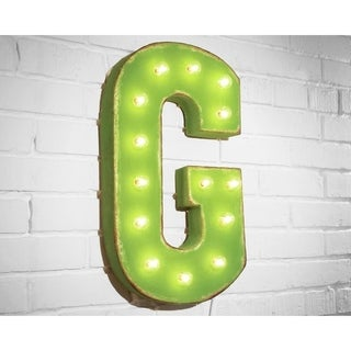 "21"" Letter G Plug-In Rustic Metal Marquee Light Up Sign Color"