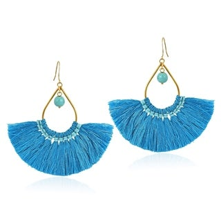 Chic Fan Shaped Tassels with Stone Bead Accent Brass Dangle Earrings