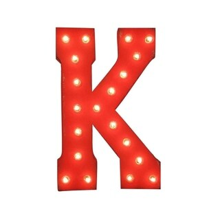 "21"" Letter K Plug-In Rustic Metal Marquee Light Up Sign Color"