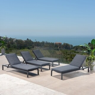 Navan Outdoor Aluminum Chaise Lounge with Cushion (Set of 4) by Christopher Knight Home