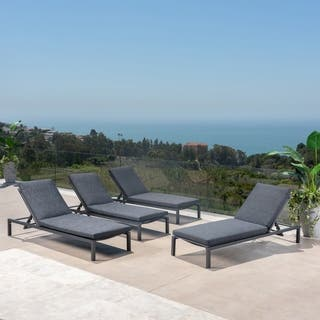 Navan Outdoor Aluminum Chaise Lounge With Cushion Set Of 4 By Christopher Knight Home
