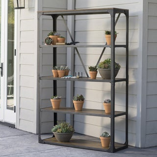 Lowell Outdoor Industrial Wood 5-shelf Cabinet by Christopher Knight Home