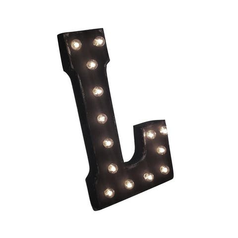 "21"" Letter L Plug-In Rustic Metal Marquee Light Up Sign Color"