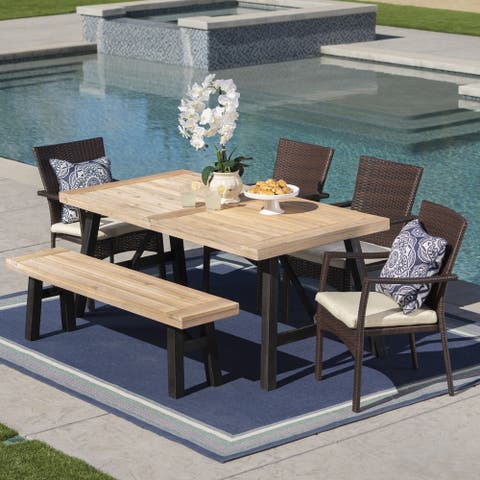 Horton Outdoor 6-Piece Rectangle Wicker Wood Dining Set with Cushions by Christopher Knight Home